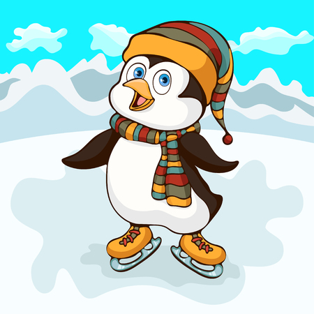 Penguin hand drawing, cartoon character, vector illustration, caricature. Colorful painted little cute funny penguin in a hat and scarf ride skates winter on ice, on background of snowy mountains