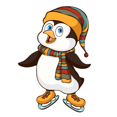 Penguin hand drawing, cartoon character, vector illustration, caricature, sticker, print, design element. Colorful painted cute funny penguin in hat and scarf ride skate isolated on white background Иллюстрация
