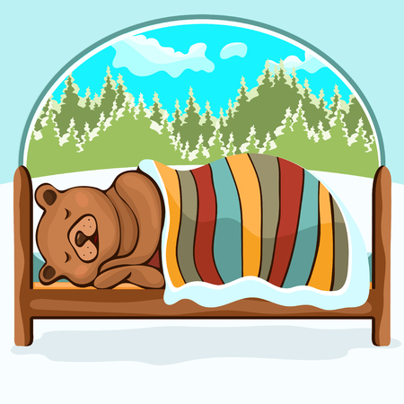 Bear in hibernation hand drawing, cartoon character, vector illustration, caricature. Colorful painted comical cute funny teddy bear lying on the bed covered with a blanket and sleeping winter in den