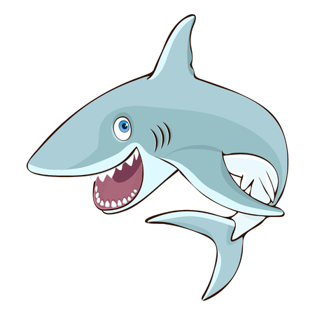 Shark jumps out of the water cartoon character, vector illustration, caricature, sticker, design element. Colorful painted cute funny fish shark with open mouth and smile isolated on white background