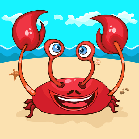 Crab hand drawing, cartoon character, vector illustration, caricature, card, cover, design element. Colorful painted cute funny happy cancer smiles on the beach with the sea, waves and blue sky