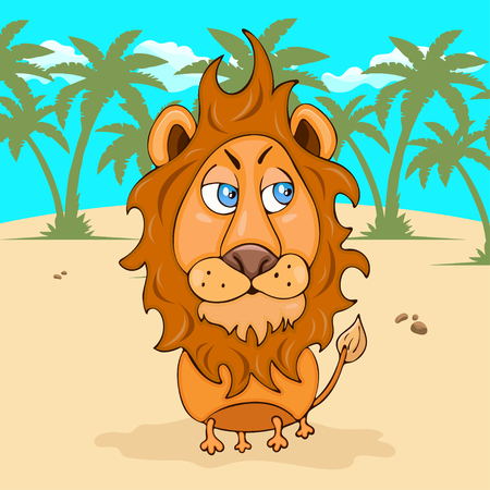 Lion hand drawing, cartoon character, vector illustration, caricature, card, cover, design element. Colorful painted comical cute funny leo on the background of the desert, palm trees and blue sky
