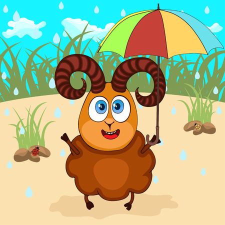 Ram hand drawing, cartoon character, vector illustration, caricature. Colorful painted cute funny lamb with umbrella sheltering from the rain against the background of grass meadow and blue sky