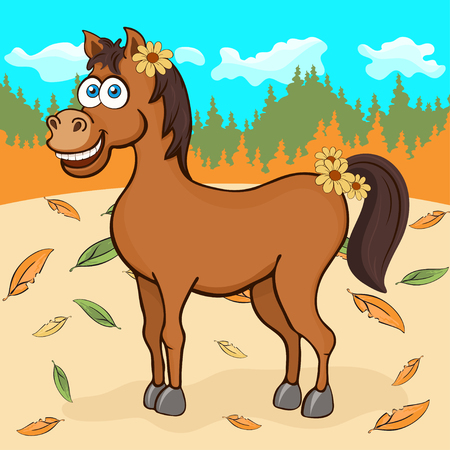 Horse hand drawing, cartoon character, vector illustration, caricature, card. Colorful painted cute funny equine with flowers in the mane against the background of autumn forest and fallen leaves