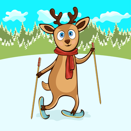 Deer hand drawing, cartoon character, vector illustration, caricature, card. Colorful painted cute funny fawn in a scarf with ski poles ride skiing on snowy field in winter on the background forest