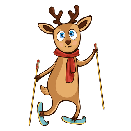 Deer hand drawing, cartoon character, vector illustration, caricature, sticker, design element. Colorful painted cute funny fawn in a scarf with ski poles ride skiing isolated on white background Иллюстрация