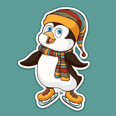 Cute funny penguin in a hat and scarf on skates sticker, design element, colorful hand drawing, cartoon character, vector illustration, caricature, isolated with white stroke on colored background Ilustração