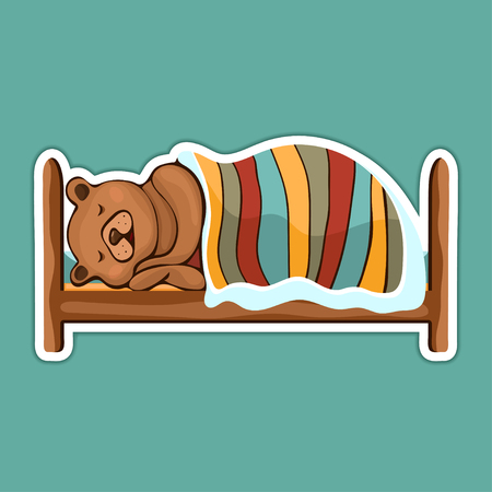 Painted cute funny brown bear in hibernation lying on the bed covered with blanket and sleeping sticker, colorful hand drawing, cartoon character, vector illustration, isolated on colored background Ilustração