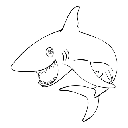 Funny fish shark smiling jumps out of the water, linear hand drawing, cartoon character, vector black and white illustration, coloring, sketch, silhouette, outline picture isolated on white background