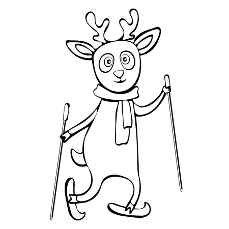 Painted cute funny deer in scarf ride skiing linear hand drawing, cartoon character, vector black and white illustration, coloring, sketch, silhouette, outline picture isolated on white background Иллюстрация