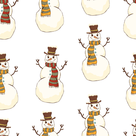 Cheerful snowman in cylinder hat and scarf seamless pattern, bright colorful cartoon drawing, vector background. Cute funny smiling happy drawn snow man on white background. For fabric design