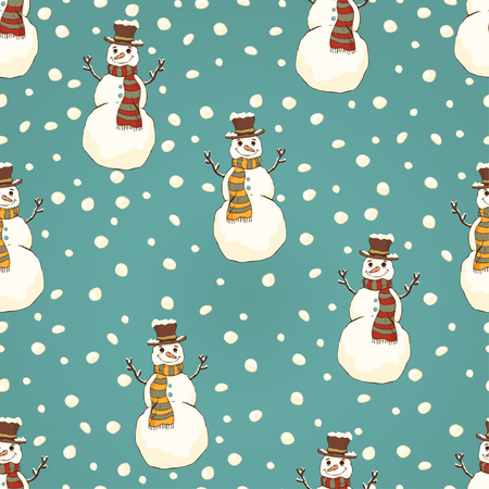 Cheerful snowman in cylinder hat and scarf seamless pattern, bright colorful cartoon drawing, vector background. Cute funny smiling happy drawn snow man on turquoise background and snowflakes Illustration