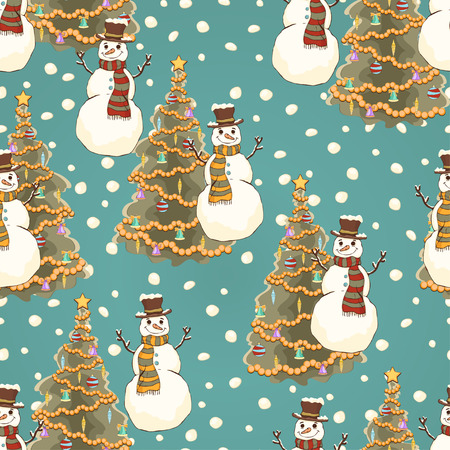 Cheerful snowman in cylinder hat and scarf seamless pattern, bright colorful cartoon drawing, vector background. Cute funny smiling drawn snow man on turquoise background and decorated christmas tree
