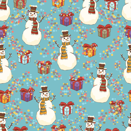 Cheerful snowman in cylinder hat and scarf seamless pattern, bright colorful cartoon drawing, vector background. Cute funny smiling drawn snow man on turquoise background and gift boxes