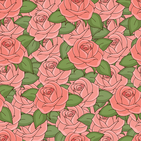 Pink roses seamless pattern, hand drawing, vector illustration. Drawn flower buds with soft pink petals and green leaves solid, continuous. For fabric design, cloth, wallpaper, decorating Ilustração
