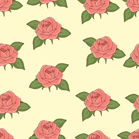 Pink roses seamless pattern, hand drawing, vector illustration. Drawn flower buds with soft pink petals and green leaves on a light yellow background. For fabric design, wallpaper, decorating