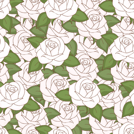 White roses seamless pattern, hand drawing, vector illustration. Drawn flower buds with petals and green leaves solid, continuous. For fabric design, cloth, wallpaper, decorating