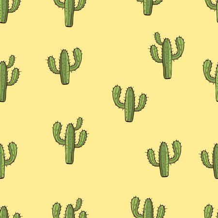 Cactus seamless pattern, hand drawing, vector illustration. Painted green peyote with spikes on yellow background. For fabric design, cloth, wallpaper, decorating Ilustração