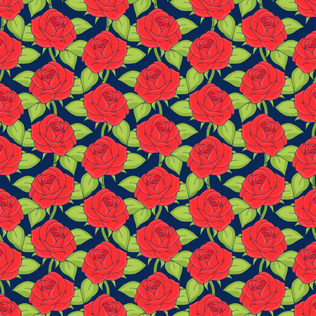 Red roses seamless pattern, hand drawing, vector illustration. Drawn flower buds with petals and green leaves on dark blue background. For fabric design, cloth, wallpaper, decorating