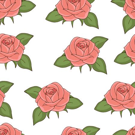 Pink roses seamless pattern, hand drawing, vector illustration. Drawn flower buds with soft pink petals and green leaves on white background. For fabric design, cloth, wallpaper, decorating