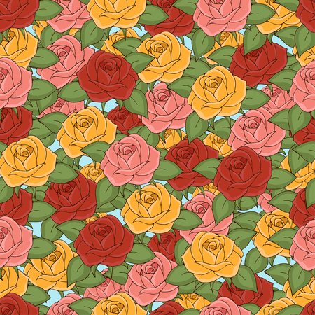 Roses seamless pattern, hand drawing, vector illustration. Drawn flower buds with pink, red, yellow, petals and green leaves on white background. For fabric design, cloth, wallpaper, decorating Ilustração