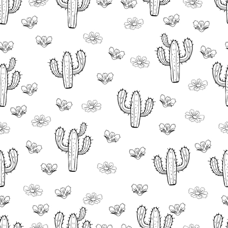 Cactus seamless pattern, outline linear hand drawing, silhouette sketch, black and white vector illustration. Painted peyote with spikes on white background. For fabric design, cloth, wallpaper
