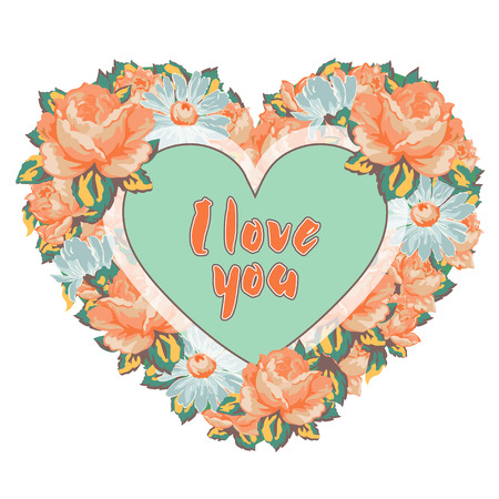 Wreath of flowers colorful roses and daisies in the shape of heart with an inscription I love you isolated on white background, hand drawing, vector illustration, floral frame, border, garland, card