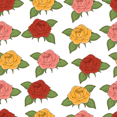Roses seamless pattern, hand drawing, vector illustration. Drawn flower buds with pink, red, yellow, petals and green leaves on white background. For fabric design, cloth, wallpaper, decorating Иллюстрация