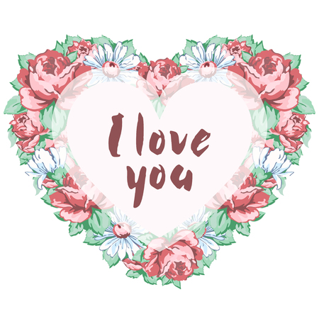 Wreath of flowers pink roses and daisies in the shape of a heart with an inscription I love you isolated on white background, hand drawing, vector illustration, floral frame, border, garland, card Ilustração