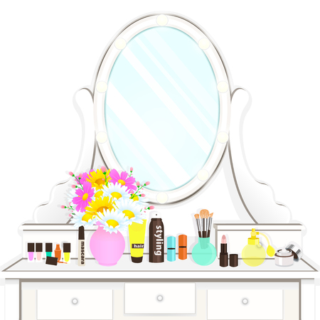 Dressing table with mirror with lights, female boudoir for makeup, flat drawing, vector illustration. White table and mirror with light bulbs and with cosmetic and flowers isolated on white background
