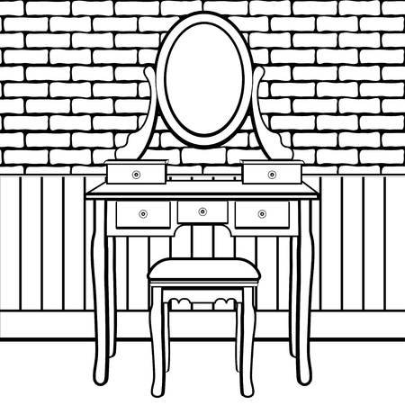 Dressing table with mirror, female boudoir for applying makeup, coloring, sketch, contour black and white drawing, vector illustration. Table with shelves and mirror with light bulbs and chair in room Illustration