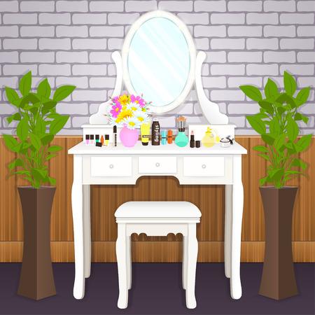 Schminktisch mit Spiegel mit Lichtern, weibliches Boudoir zum Auftragen von Make-up, flache Zeichnung, Vektorgrafik. Weißer Tisch und Spiegel mit Glühbirnen und mit Kosmetika und Blumen in der Vase im Zimmer