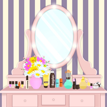Dressing table with mirror with lights, female boudoir for applying makeup, flat drawing, vector illustration. Pink table and mirror with light bulbs and with cosmetics and flowers in vase in room