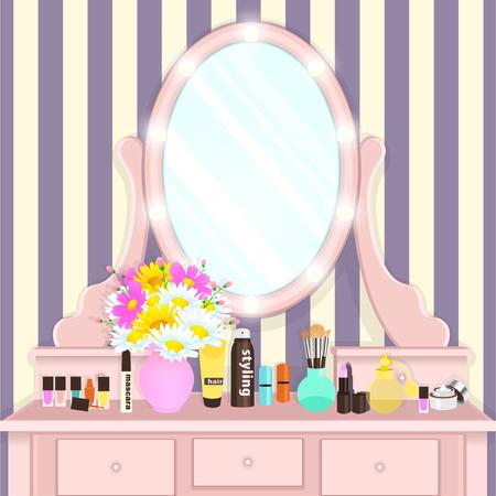 Schminktisch mit Spiegel mit Lichtern, weibliches Boudoir zum Auftragen von Make-up, flache Zeichnung, Vektorgrafik. Rosa Tisch und Spiegel mit Glühbirnen und mit Kosmetika und Blumen in der Vase im Zimmer Vektorgrafik