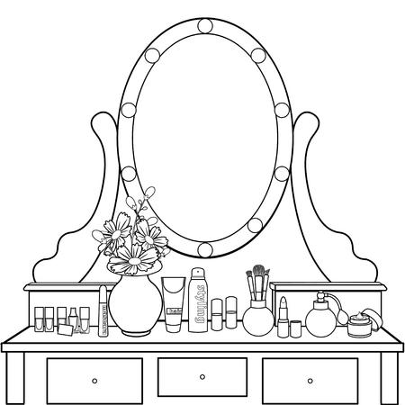 Schminktisch mit Spiegel, weibliches Boudoir zum Auftragen von Make-up, Färbung, Skizze, Konturschwarz-Weiß-Zeichnung, Vektorillustration. Tisch mit Regalen und Spiegel mit Glühbirnen und Stuhl im Zimmer Vektorgrafik