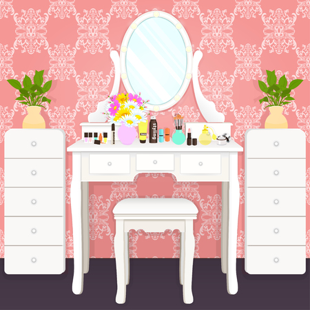Dressing table with mirror with lights, female boudoir for makeup, flat drawing, vector illustration. White table and mirror with light bulbs and cosmetics in room with pink wallpaper with ornament