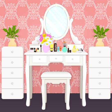 Schminktisch mit Spiegel mit Lichtern, weibliches Boudoir für Make-up, flache Zeichnung, Vektorillustration. Weißer Tisch und Spiegel mit Glühbirnen und Kosmetik im Zimmer mit rosa Tapete mit Ornament