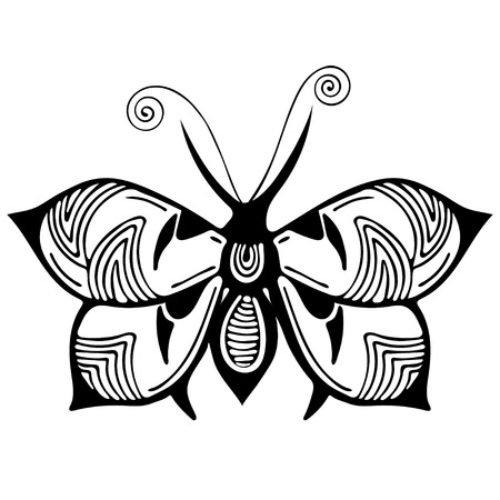 Abstract butterfly, black and white drawing, outline ornament, textile print, coloring, tattoo sketch, vector illustration. Patterned insect with wings view from above isolated on white background