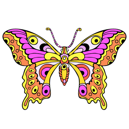 Abstract colorful butterfly, cartoon hand drawing, textile print, tattoo sketch, vector illustration. Patterned insect with pink yellow wings view from above profile isolated on white background