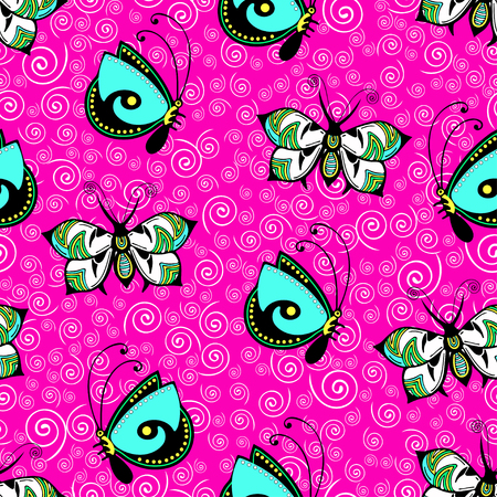 Abstract butterflies seamless pattern, hand drawing, textile print, ornament, vector illustration. Patterned colorful insect with wings on bright pink background with curls spirals. For fabric design