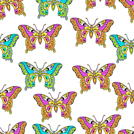 Abstract butterflies seamless pattern, hand drawing, textile print, vector illustration. Patterned colorful bright neon insect with wings on white background. For fabric design, wallpaper, wrapper