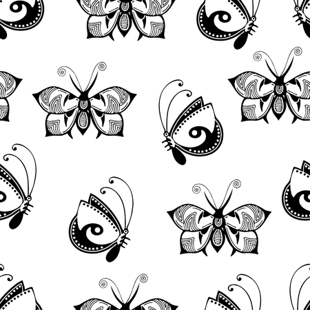 Abstract butterflies seamless pattern, black and white hand drawing, monochrome outline textile print, vector illustration. Patterned winged insect on white background. For fabric design, wallpaper