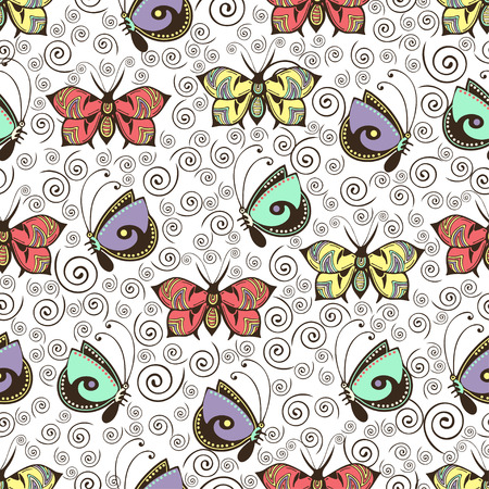 Abstract butterflies seamless pattern, hand drawing, textile print, vector illustration. Patterned colorful pastel insect with wings on white background with brown curls spiral. For fabric design Иллюстрация