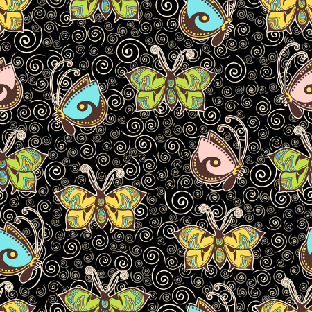 Abstract butterflies seamless pattern, hand drawing, textile print, vector illustration. Patterned colorful insect with wings and white stroke on black background with curls spiral. For fabric design
