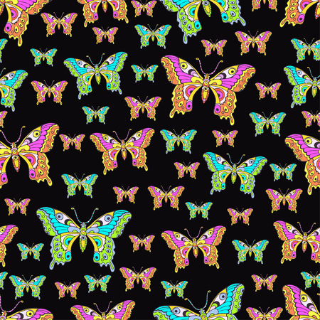 Abstract butterflies seamless pattern, hand drawing, textile print, vector illustration. Patterned colorful bright insect with wings view from above on black background. For fabric design, wallpaper Иллюстрация