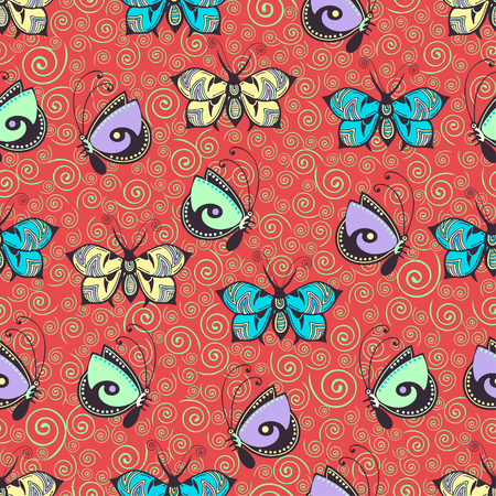 Abstract butterflies seamless pattern, hand drawing, textile print, vector illustration. Patterned colorful pastel insect with wings on red scarlet background with green curl spiral. For fabric design Иллюстрация