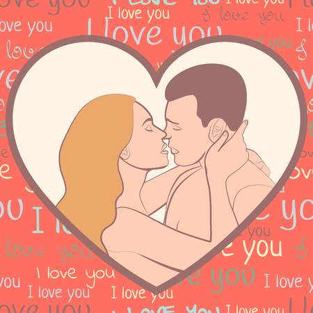Couple in love, lovers beautiful man and woman hugging and kiss in shape of pink heart, on scarlet background with inscriptions i love you, retro card, colorful cartoon drawing, vector illustration