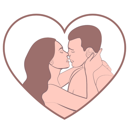 Couple in love, lovers beautiful man and woman hugging and kiss in shape of white heart, isolated on white background, colorful pastel cartoon retro drawing, vintage icon, sticker, vector illustration Illustration