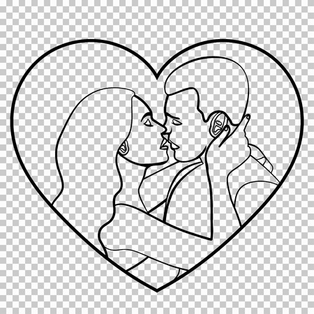 Couple in love stencil, silhouette, linear black and white outline vector drawing, sketch, linear picture, lover man and woman hugging and kiss in frame heart shape isolated on transparent background Illustration