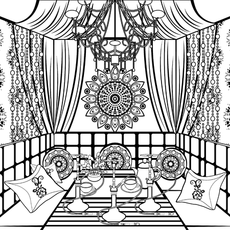 Hookah room ornate decorated in oriental style, black and white drawing, vector contour linear illustration, coloring, sketch, monochrome picture. Rich interior decorated patterns and ornaments